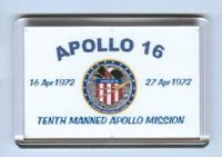 NASA Apollo 16 Tenth Manned Apollo Moonlanding Mission fridge magnet